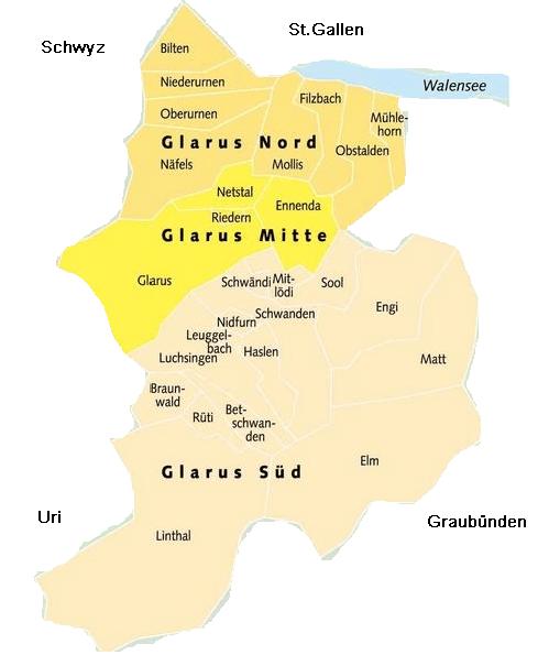 Karte des Kantons Glarus